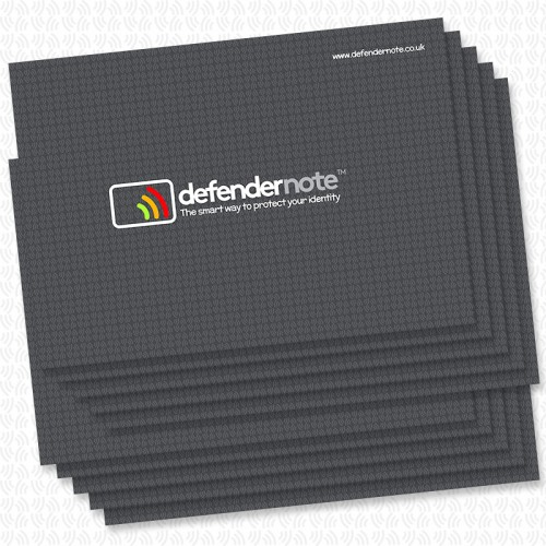 Large pack of 10 defender notes. RFID contactless card protection against fraud