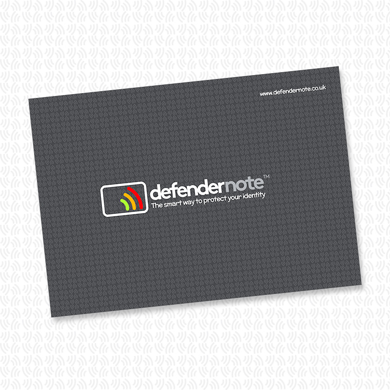 Large single defender note. RFID contactless card protection against fraud
