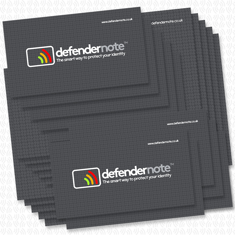 Mixed pack of 20 defender notes. RFID contactless card protection against frand