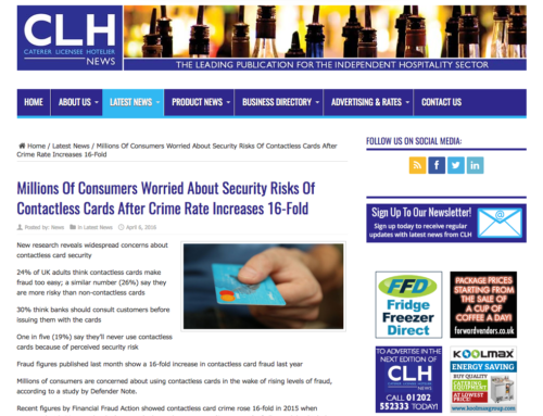 Millions of consumers worried about security risks of contactless cards after crime rate increases 16-fold